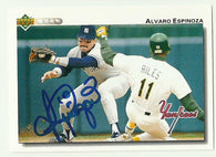 Alvaro Espinoza Signed 1992 Upper Deck Baseball Card - New York Yankees - PastPros