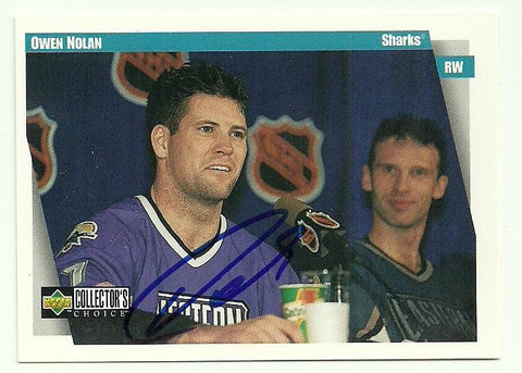 Owen Nolan Signed 1997-98 Upper Deck Collector's Choice Hockey Card - San Jose Sharks - PastPros