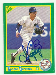 Alvaro Espinoza Signed 1990 Score Baseball Card - New York Yankees
