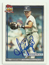Alvaro Espinoza Signed 1991 Topps Baseball Card - New  York Yankees - PastPros