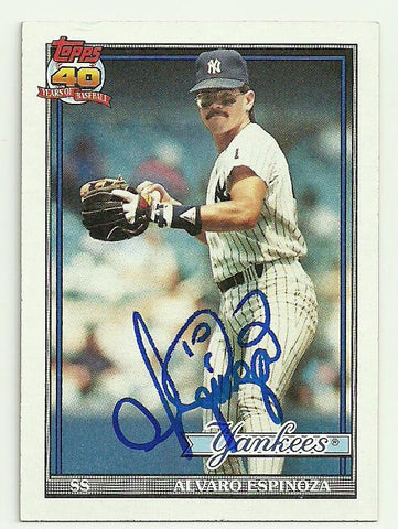 Alvaro Espinoza Signed 1991 Topps Baseball Card - New  York Yankees