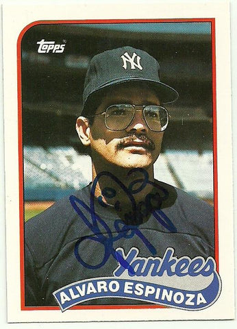 Alvaro Espinoza Signed 1989 Topps Traded Baseball Card - New York Yankees