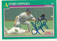 Alvaro Espinoza Signed 1991 Score Baseball Card - New York Yankees - PastPros