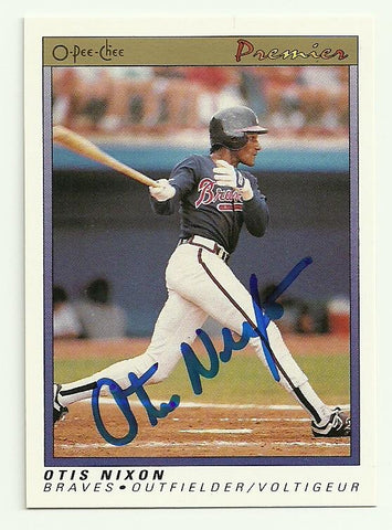 Otis Nixon Signed 1991 O-Pee-Chee Premier Baseball Card - Atlanta Braves