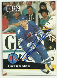 Owen Nolan Signed 1991-92 Pro Set Hockey Card - Quebec Nordiques - PastPros