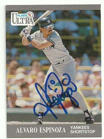 Alvaro Espinoza Signed 1991 Fleer Ultra Baseball Card - New York Yankees