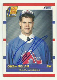 Owen Nolan Signed 1990-91 Score Hockey Card - Quebec Nordiques