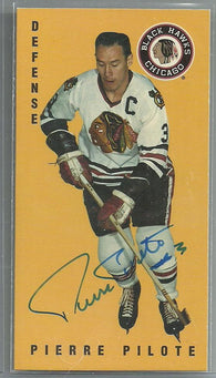 Pierre Pilote Signed 1994-95 Parkhurst Tall Boys Hockey Card - Chicago Blackhawks - PastPros