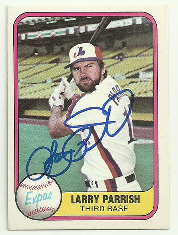 Larry Parrish Signed 1981 Fleer Baseball Card - Montreal Expos - PastPros