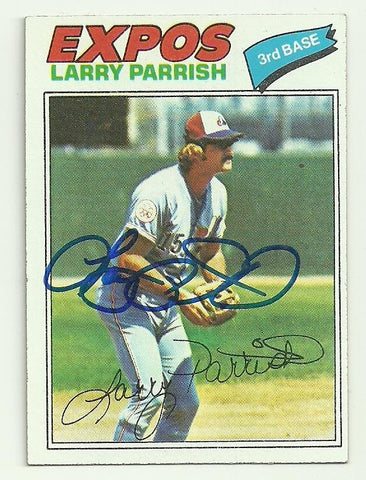 Larry Parrish Signed 1977 Topps Baseball Card - Montreal Expos - PastPros