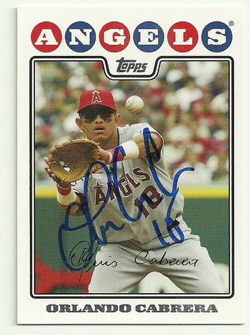 Orlando Cabrera Signed 2008 Topps Baseball Card - Anaheim Angels - PastPros