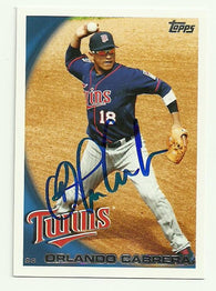 Orlando Cabrera Signed 2010 Topps Baseball Card - Minnesota Twins