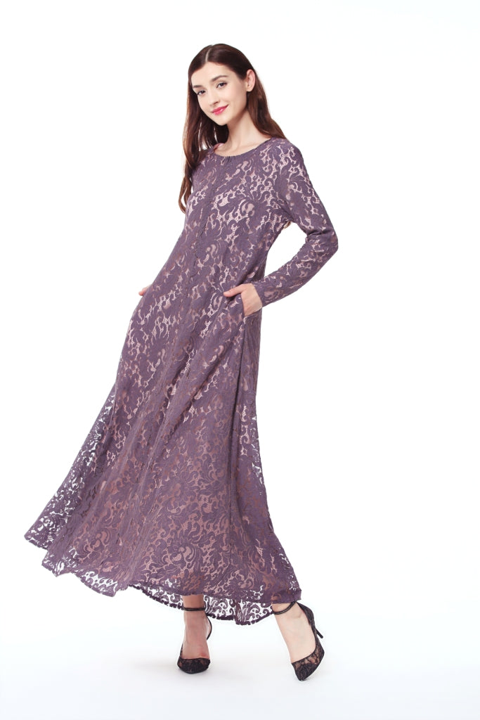 Long Satin And Lace Dress- Grayish Purple – Laki Studio