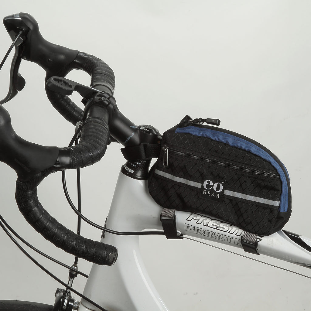 Wide shot of the slightly smaller Large Century Bag showing more of a road bike frame.
