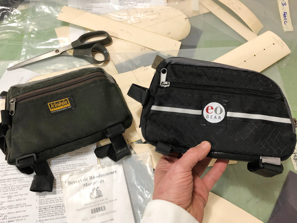 Brevet Bag 1.0 on the left & 2.0 on the right.