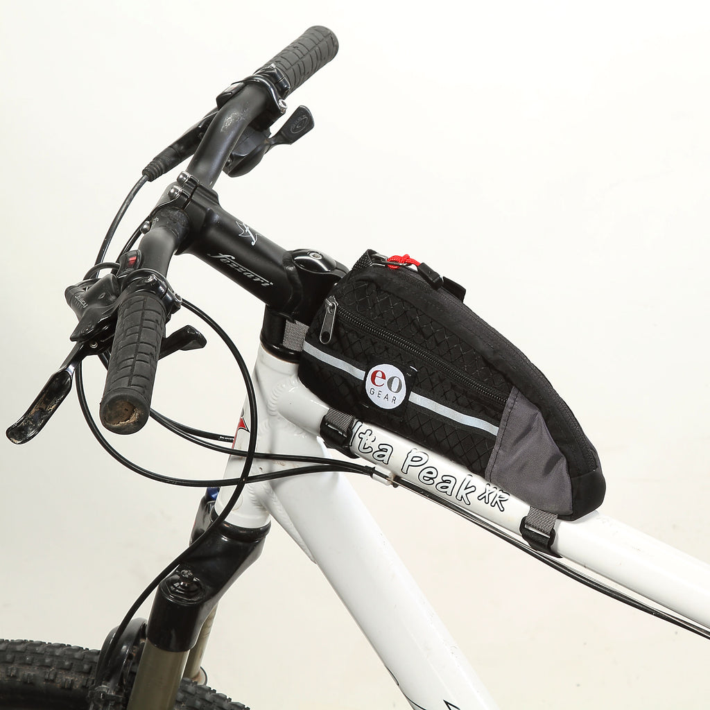 Wide shot of the bag on a mountain bike. It is also for road or gravel bikes.