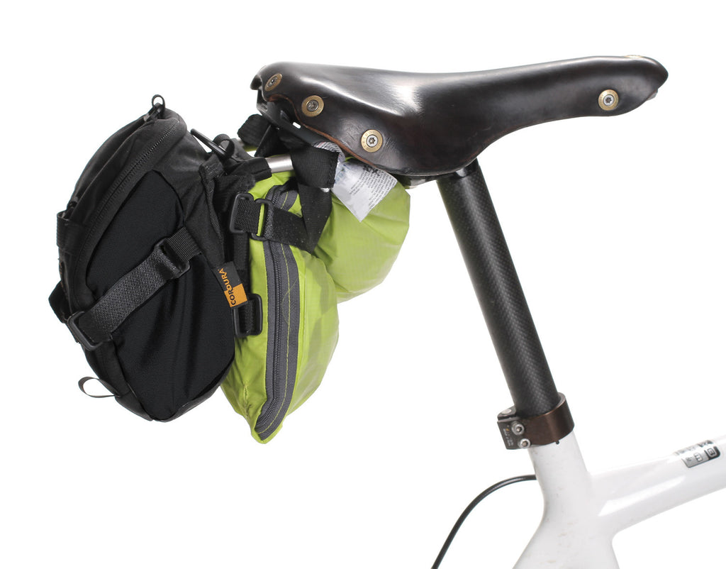 "Attach gear under the saddle when using the 2314 an ""L"" Bracket. Current model is black & gray with no silver strap.)"