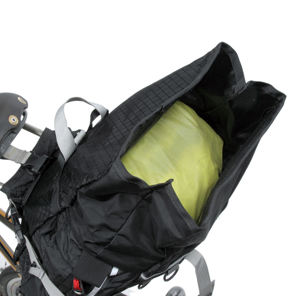 The Rolltop models feature side gussets for easier folding of the top.