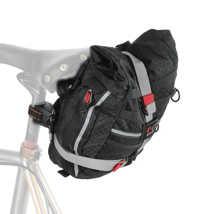 We typically recommend a Dual-mount bracket for use with the Rolltop bags. (6.6 shown, 8.2 is slightly wider and has gray side panels.)