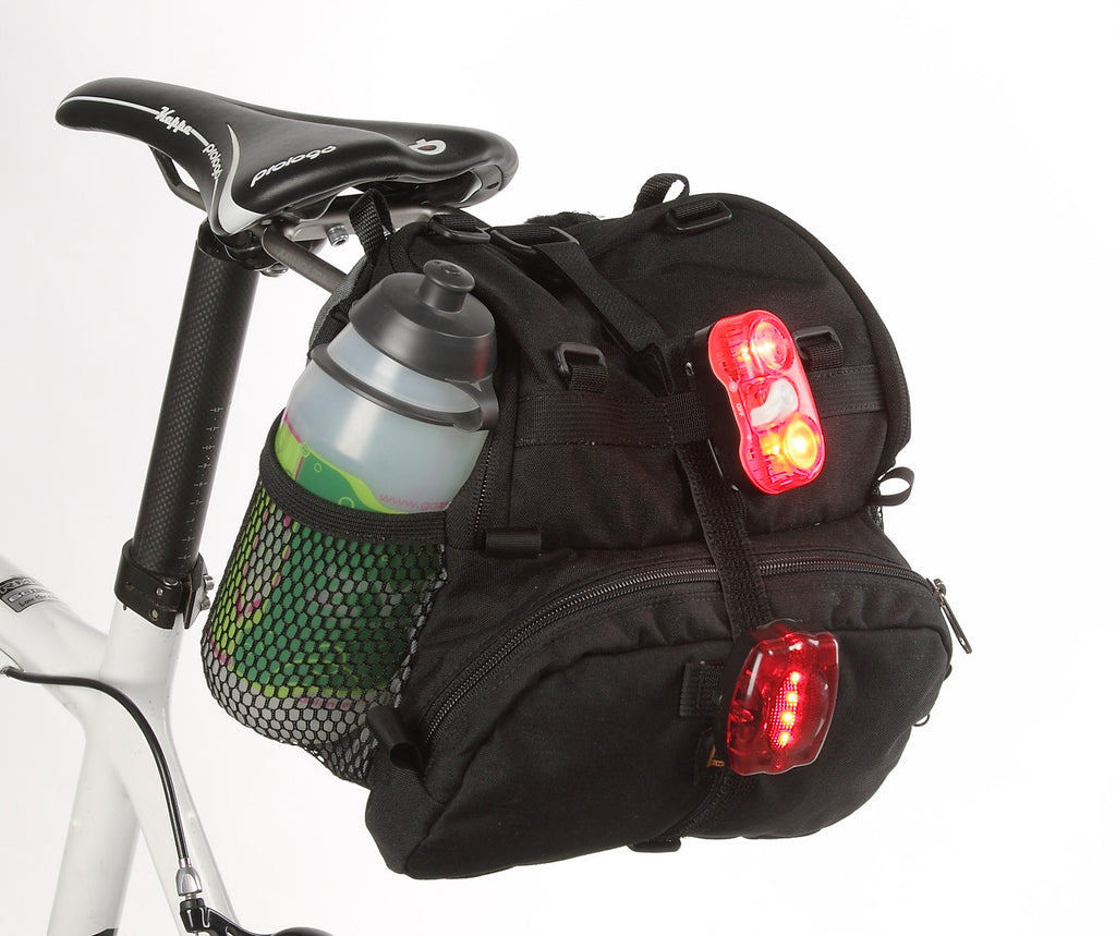 Many accessories can attach to this bag (although on future models we may omit the secondary light attachment on the front pocket — placing lights on your down tubes is usually better).