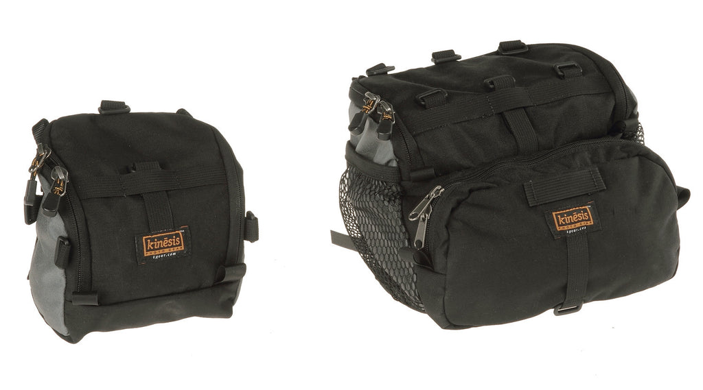 2.2 bag (new 2.3 is similar in size to the 2.2) on the left and 6.8 bag on the right (black & gray color scheme shown).