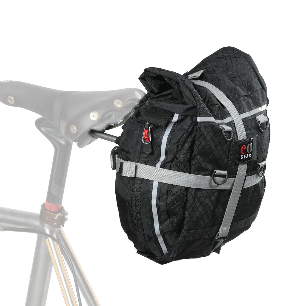 Rolltop bag on the Standard L Bracket. (9.3 shown, 8.2 is slightly narrower & has gray side panels.)