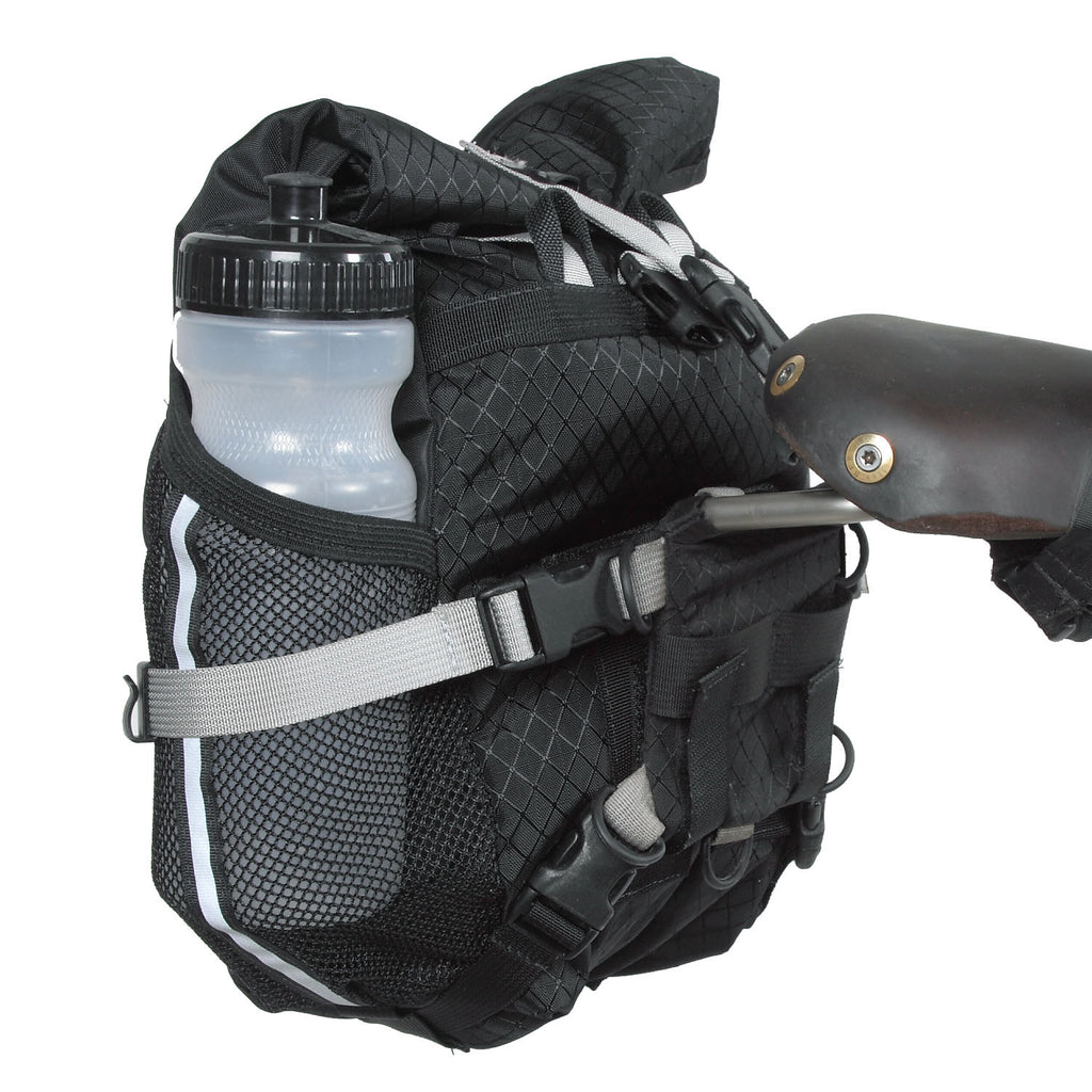 A normal-size bike bottle (or other accessories) can fit in the side mesh pocket.