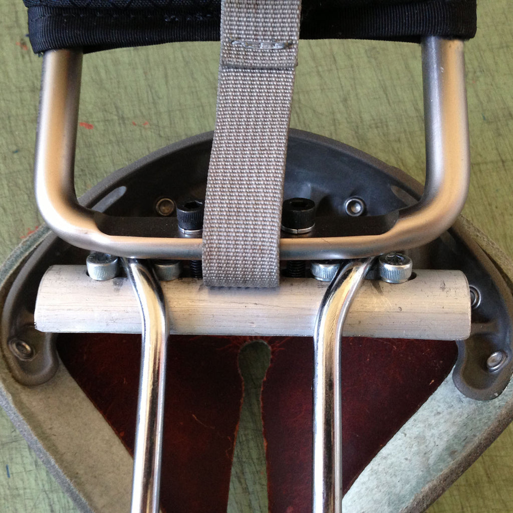 Close-up detail of the adapter on a Rivet saddle.