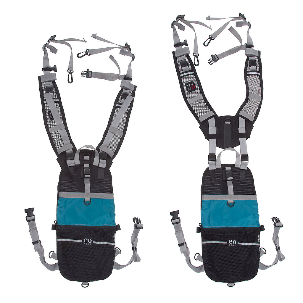 One of the unique design features is the ability to raise or lower the module in the back to suit the persons torso height. On the left it is configured for a short or average height, whereas the right configuration is for taller folks.