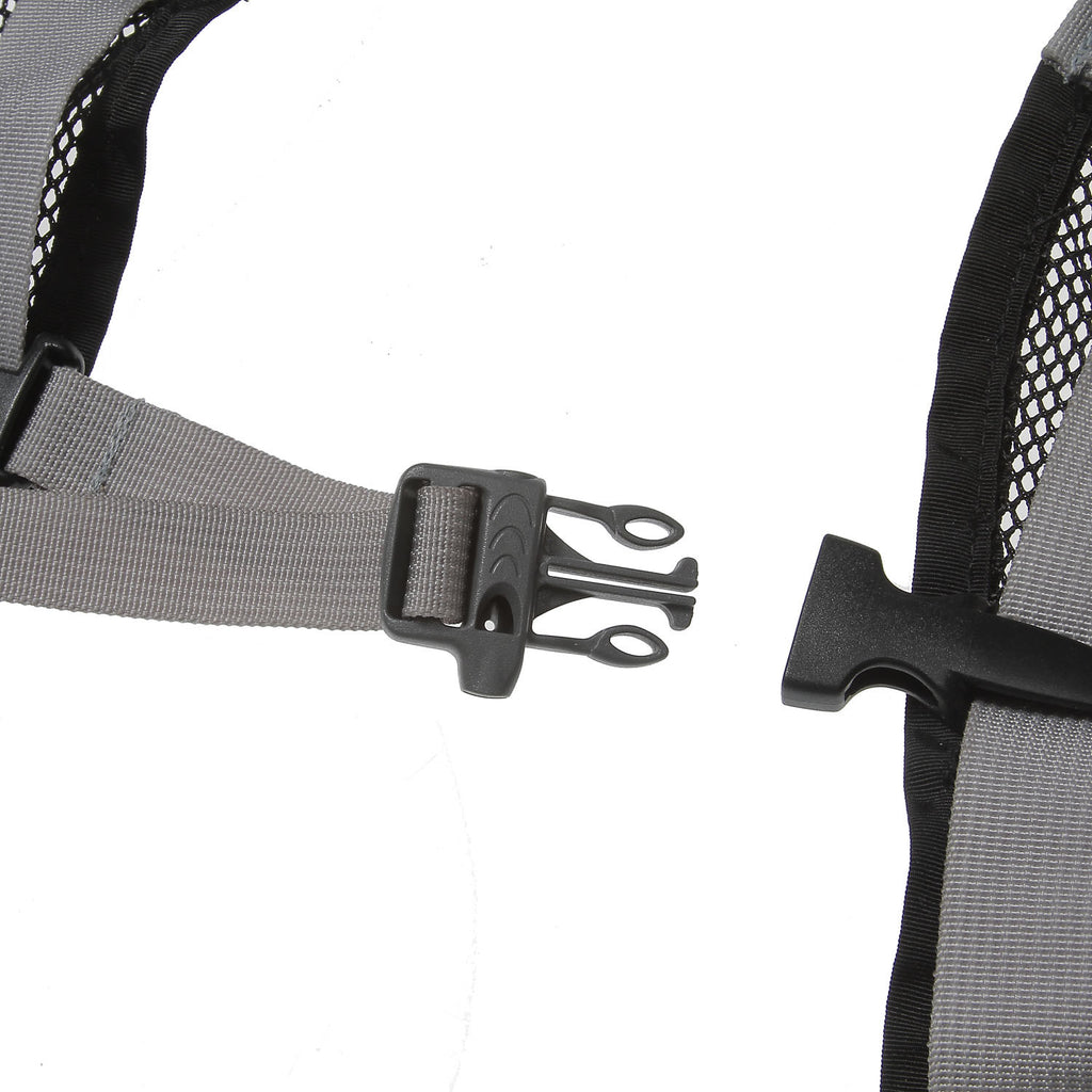 The sternum strap buckle has a built-in whistle.