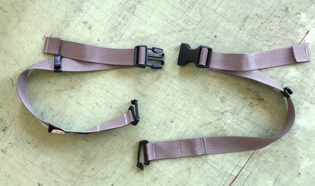 "Optional waist belt (25mm/1"" wide) clips to the Aeropouch, converting into a mini fanny pack (# 2585)."