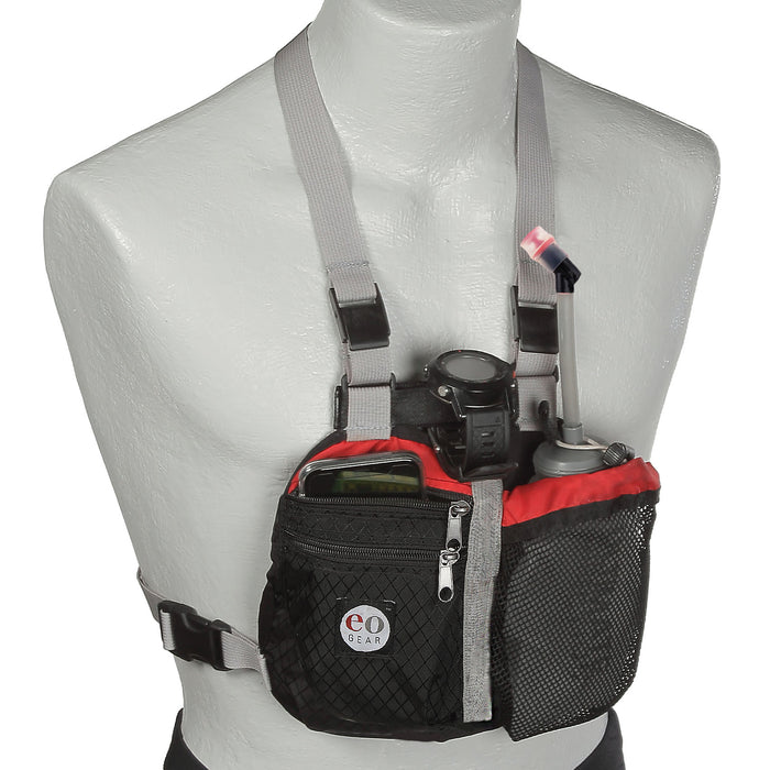 Hydra Harness shown with optional gear including a GPS watch, smartphone & water pouch.