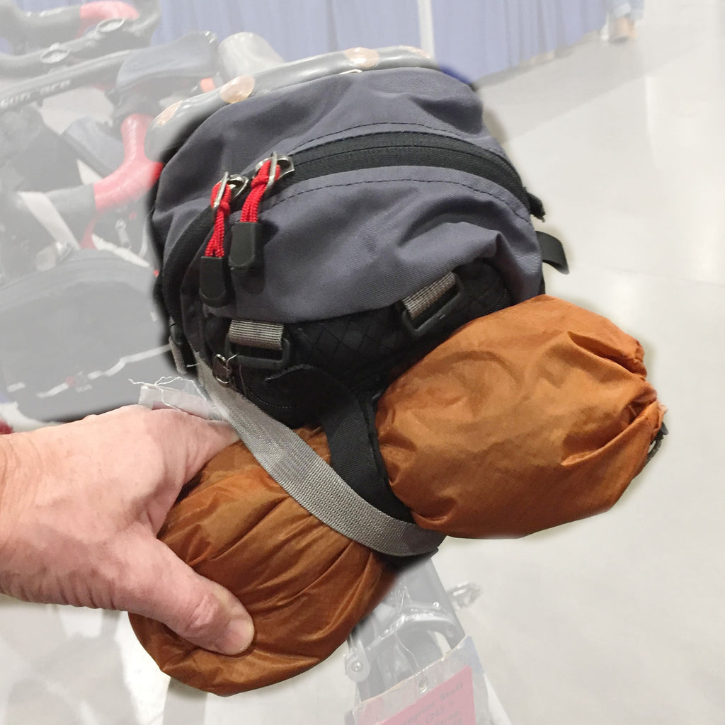 This sack works well as an add-on to saddle-mounted bags like the 4.8, 9.0 or 12.0 (4.8 shown).