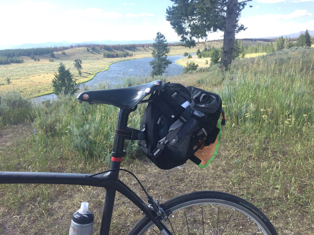 Prototype 9.0 during a 1000K brevet in Grand Teton Natl Park during test run in 2017 (final bag is slimmer).
