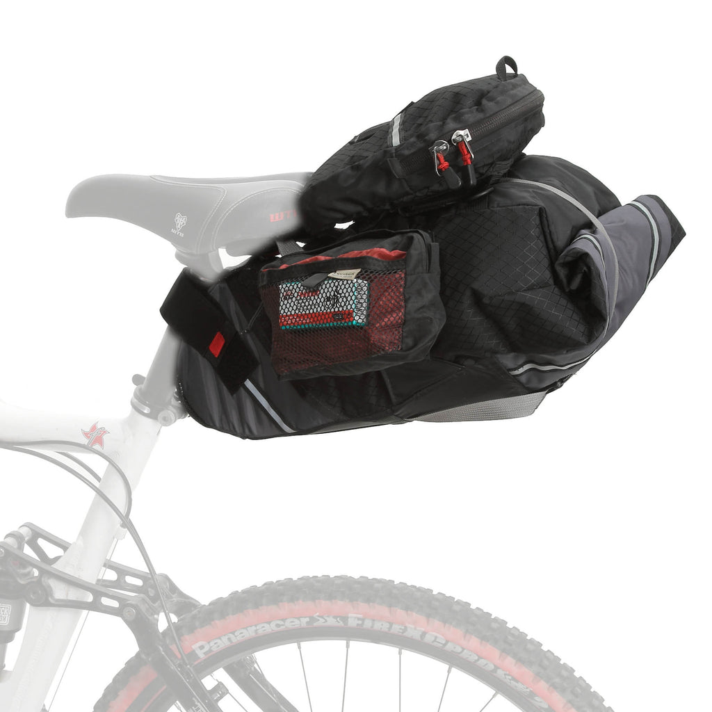 Accessories or pouches can be attached to the top and/or sides of the bag (exercise caution on a single track with side pouches).