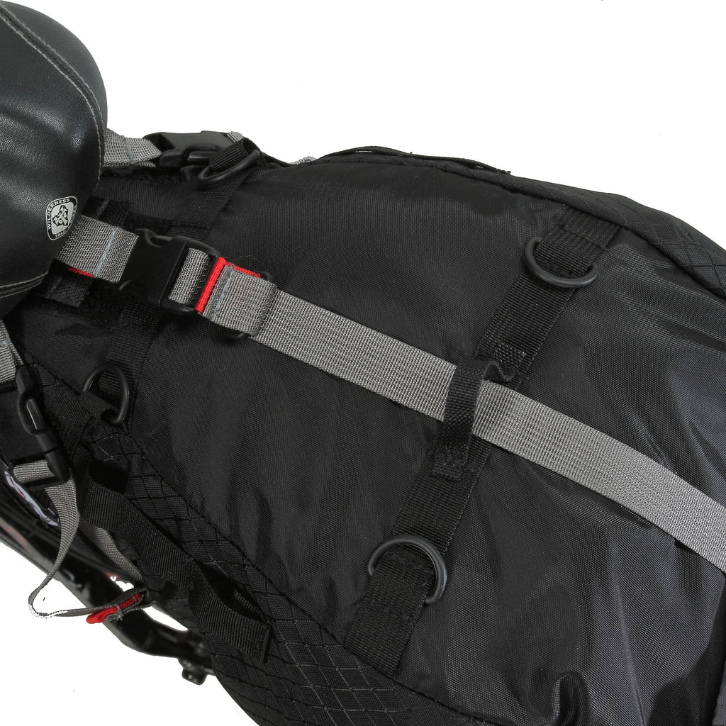 Close up of D-Rings & webbing slots for eoGEAR bags with Dual Tab System (DTS).