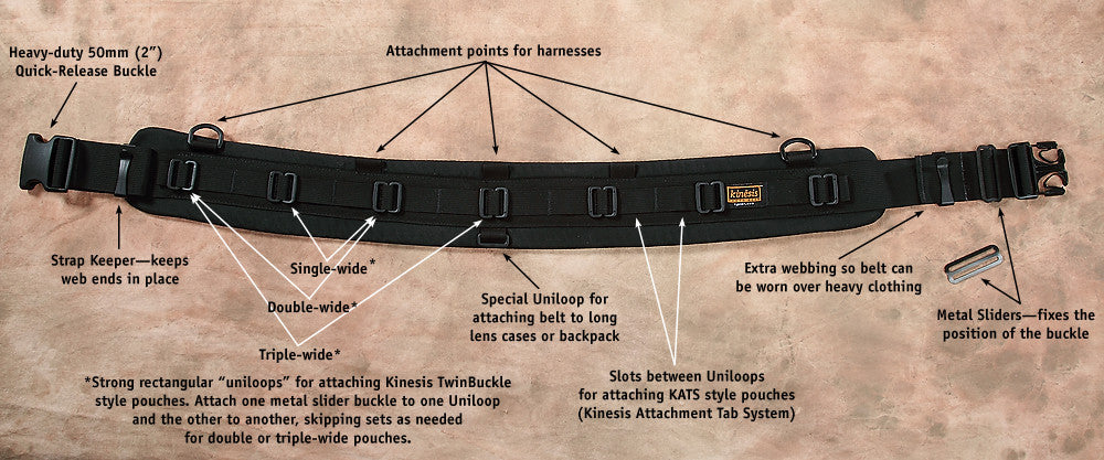 B107 shown. Enlarge to see features found on all padded Kinesis belts.
