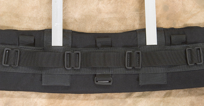 The Heavy-duty belts have special pockets built in for inserting the aluminum staves of a Kinesis backpack. The standard weight Kinesis Black Belts do not have this pocket, however a B503 adapter can be added for this purpose.