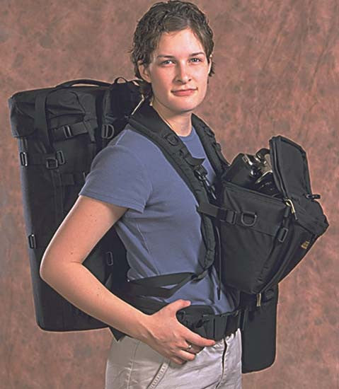 A holster can be carried in front on the chest — a Y303 adapter is used here.