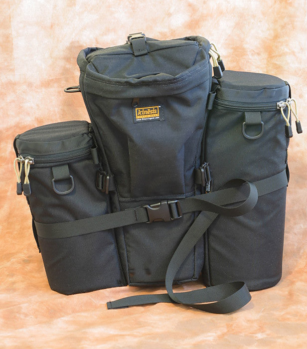Two lens pouches can be attached to either side of a holster case (C640 shown) and stabilized with a Y205 strap.