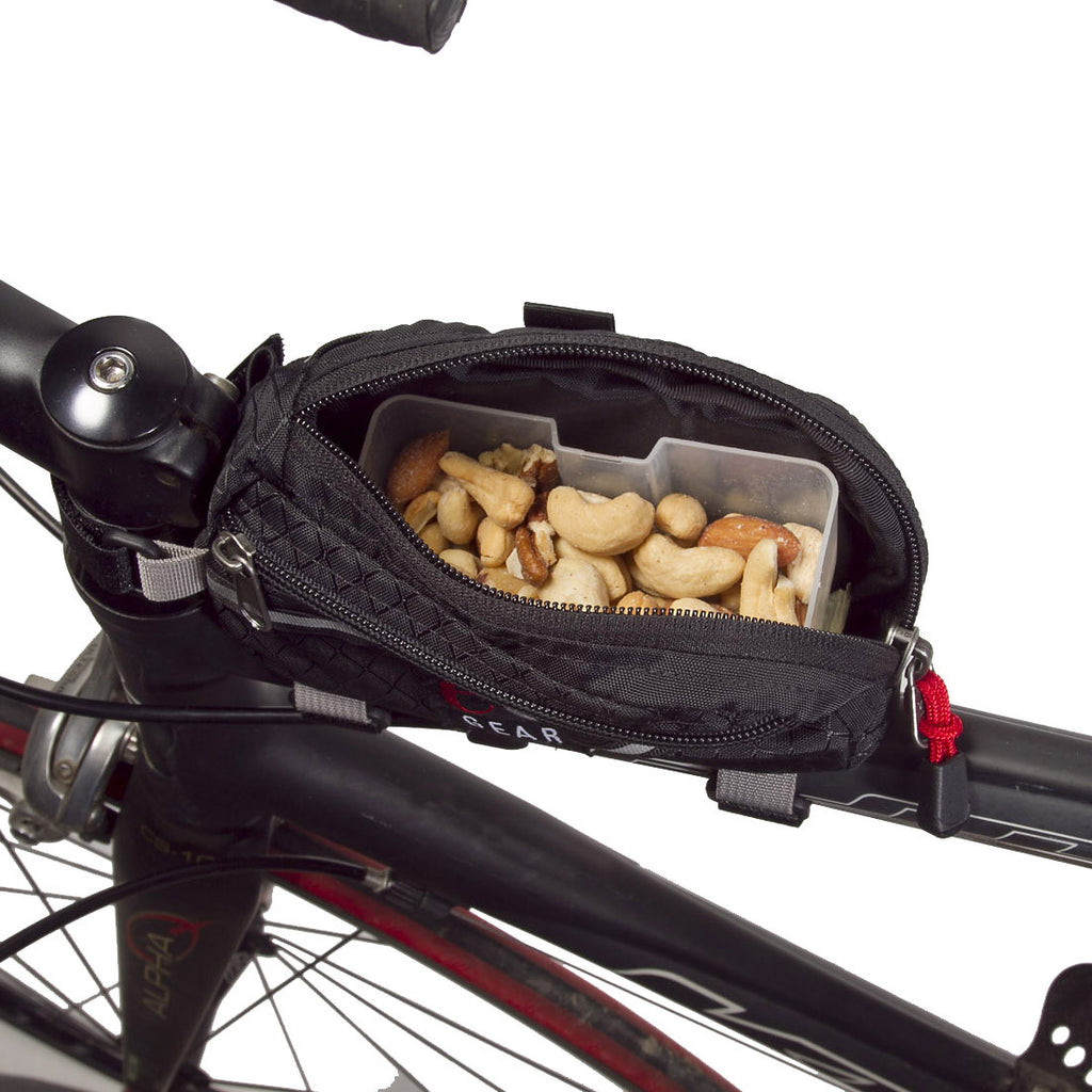 "Optional Fuel Box holds real food or tech food for eating ""on the run."""