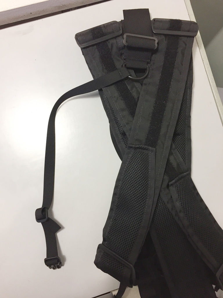 Rear detail: add the back adapter strap to the pig tail on the top/rear of your harness.