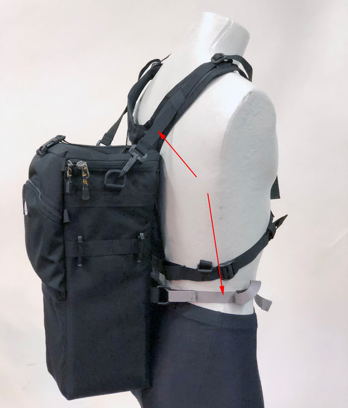 The H175 kit includes the H700 V-Harness & the H170 strap set (shown with red arrows). The top straps are best attached to the side D-rings of the holster, not the D-rings found on the back.