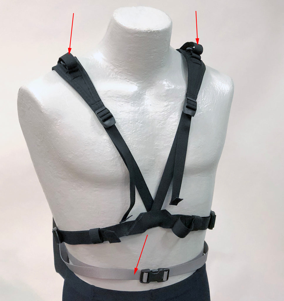 The H175 kit includes the H700 V-Harness & the H170 strap set (shown with red arrows).