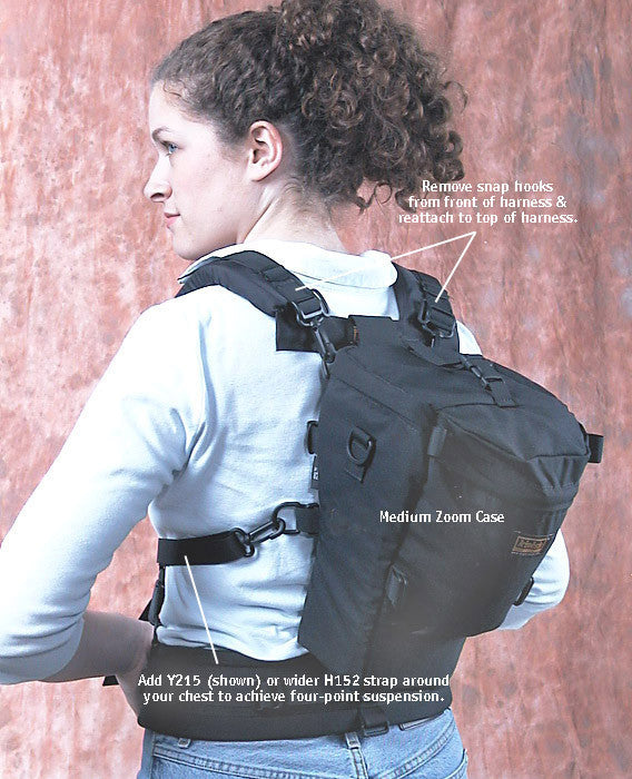 "By reversing the provided ""attachment straps"" on the harness (placing them over your shoulders instead of letting them hang down in front), you can convert a holster case into a backpack."