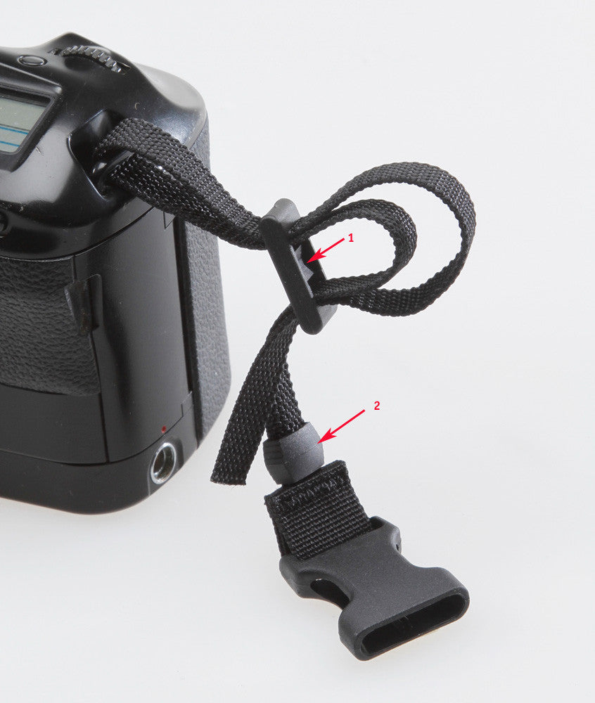 Threading diagram for the camera side (H435). Note that the concave bar on slider #1 should face towards the webbing. The loose end of the webbing can be tucked into slider #2.