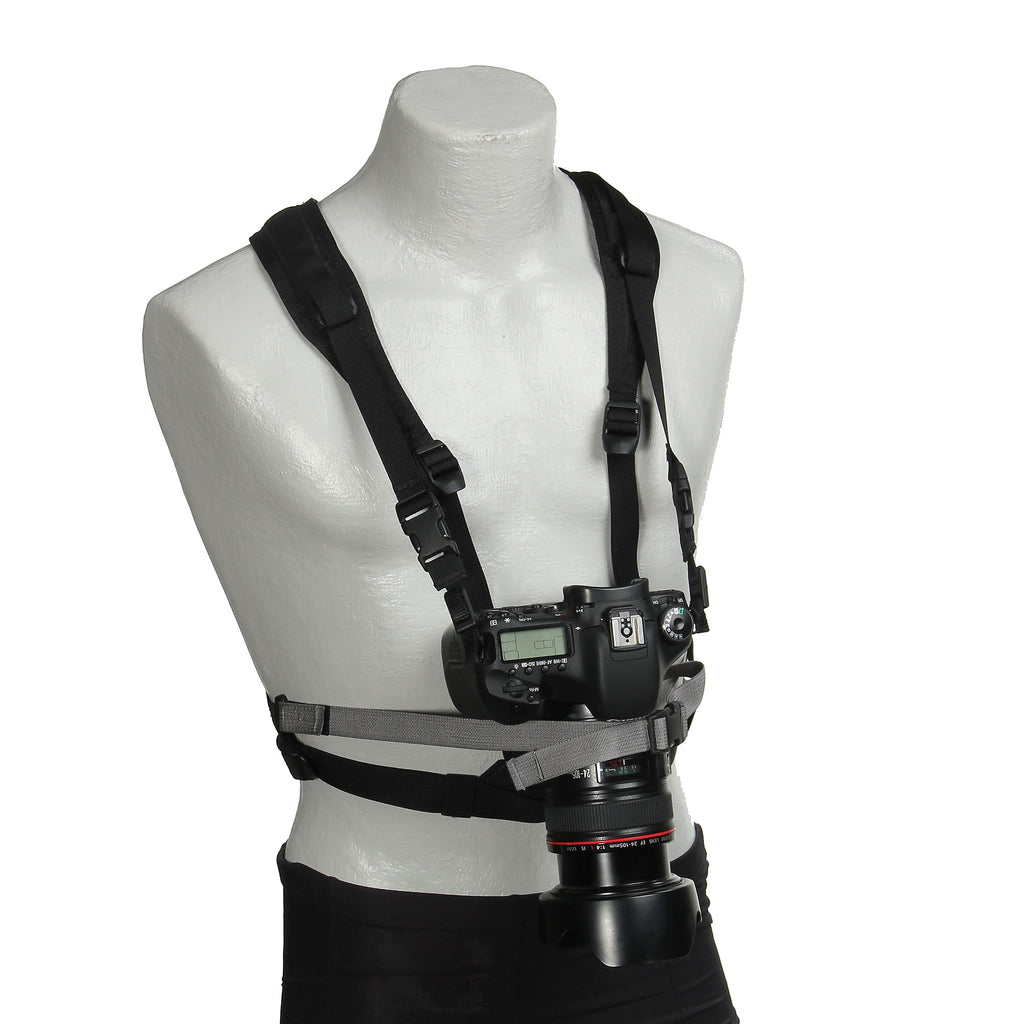 Harness with DSLR (not included), H436, H435 straps and H164 stabilizing strap (over the nose of the lens).