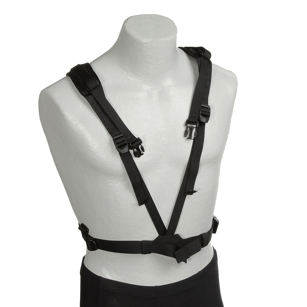"Harness w/o a DSLR attached. The front ""V"" strap attaches to the torso strap and is adjustable."