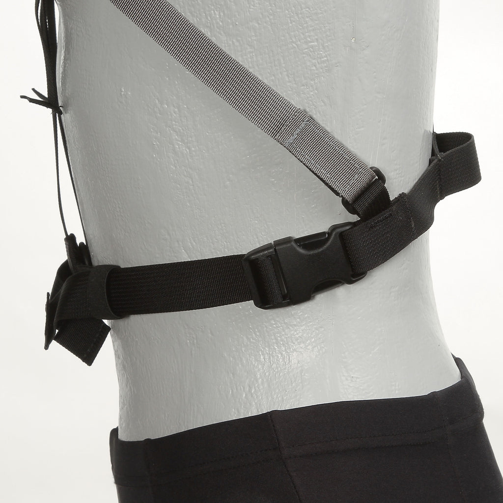 The H164 stabilizing strap (in gray) quickly attaches or detaches to the harness via a simple Velcro closure.