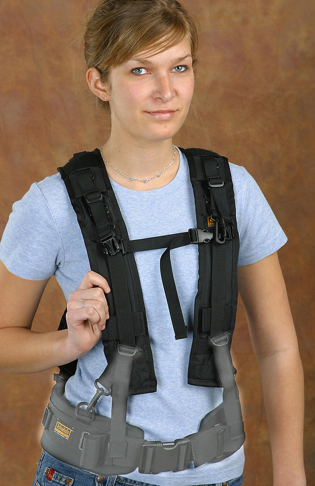 "X-Harness with optional waist belt (NOTE: belt IS NOT required for this harness to function. The waist belt is only for carrying extra pouches or, when used with the H163 adapter shown, as suspenders to ""pull up"" the waist belt a little)."